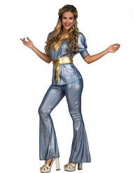Costume disco brillante argento per donna