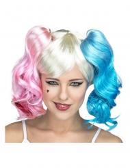 Parrucca con codini rosa e blu per donna
