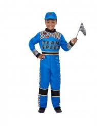 Costume da pilota di Formula 1 azzurro per bambino