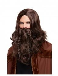 Parrucca e barba castano scuro per adulti