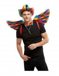 Ali con piume arcobaleno adulto