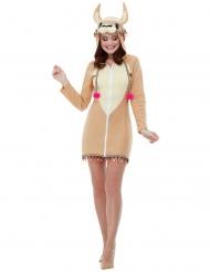Costume vestitino da lama con cappuccio per donna