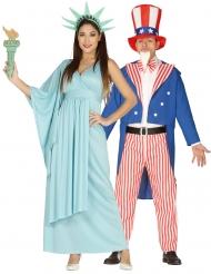 Costume di coppia Statua della Libertà e zio Sam