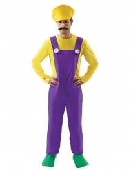 Costume da idraulico giallo e viola da uomo