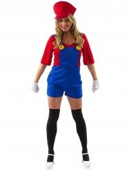 Costume da idraulico rosso corto per donna