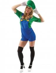 Costume da idraulico verde corto per donna