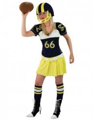 Costume da giocatrice di football americano giallo per donna.