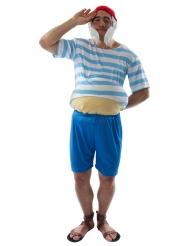Costume assistente capitano a righe uomo