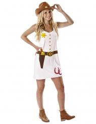 Costume da cowgirl stampato bianco donna