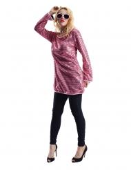 Tunica paillettes rosa donna