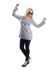Tunica paillettes argento donna