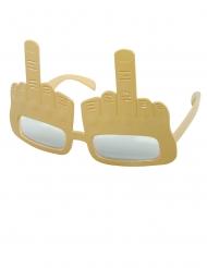 Occhiali dorati con dito medio alzato per adulti