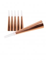 6 Trombette in cartone oro rosa 19 cm