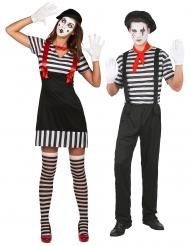 Costume di coppia mimo bianco e nero adulti