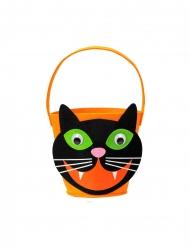 Cestino gatto nero e arancione