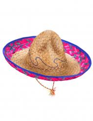 Sombrero messicano con bordo rosa e blu adulto