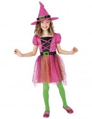 Costume tutù strega rosa con cappello bambina