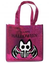 Borsa con paillettes rosa con pipistrello scheletro