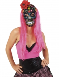 Maschera Dia de los Muertos con rosa rossa adulta