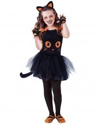 Costume piccolo gatto nero con accessori bambina