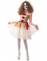 Costume clown terrificante beige donna