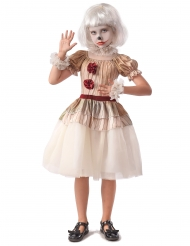Costume clown terrificante beige bambina