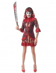 Costume clown terrificante rosso donna