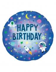 Palloncino alluminio olografico Happy Birthday spazio
