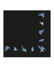 16 Tovaglioli in carta con corvi 33 x 33 cm