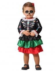 Costume scheletro Dia de los Muertos bebè bambina