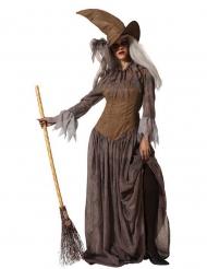 Costume da strega con cappello marrone donna