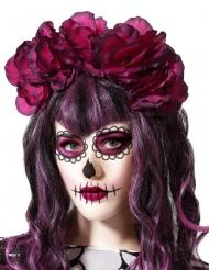 Cerchietto Dia de los Muertos grandi fiori donna