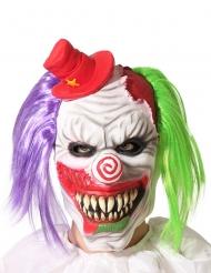 Maschera clown terrificante capelli bicolore per adulto