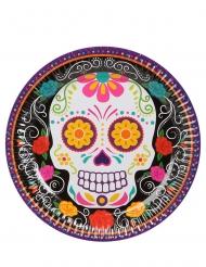6 Piattini in cartone scheletro colorato 18 cm