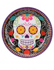 6 Piatti in cartone scheletro colorato 23 cm