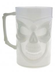 Bicchiere pinta con teschio fosforescente 13 cm