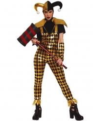 Costume da giullare dorato per donna