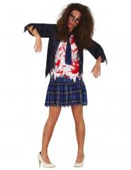 Costume scolara zombie blu donna