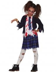 Costume scolara zombie blu bambina