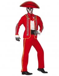 Costume messicano rosso Dia de los Muertos uomo