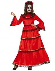 Costume messicano rosso Dia de los Muertos donna