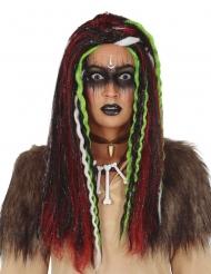 Parrucca lunga con meches vudù donna