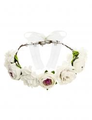Corona di fiori finti bianchi