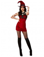 Costume strega satanica sexy rosso donna