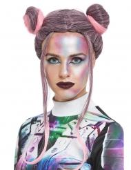 Parrucca doppio chignon nero e rosa per donna