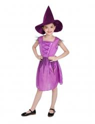 Costume da streghetta viola con cappello bambina