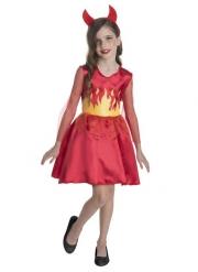Costume miss diavoletta rossa con corna bambina