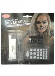 Kit trucco scheletro argento adulto