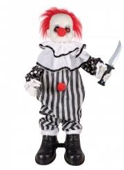 Decorazione animata e sonora clown pazzo 80 cm