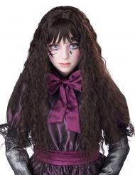Parrucca lunga ondulata bruna per bambina